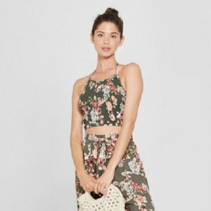 Women's Floral Halter Smocked Crop Top, NwT